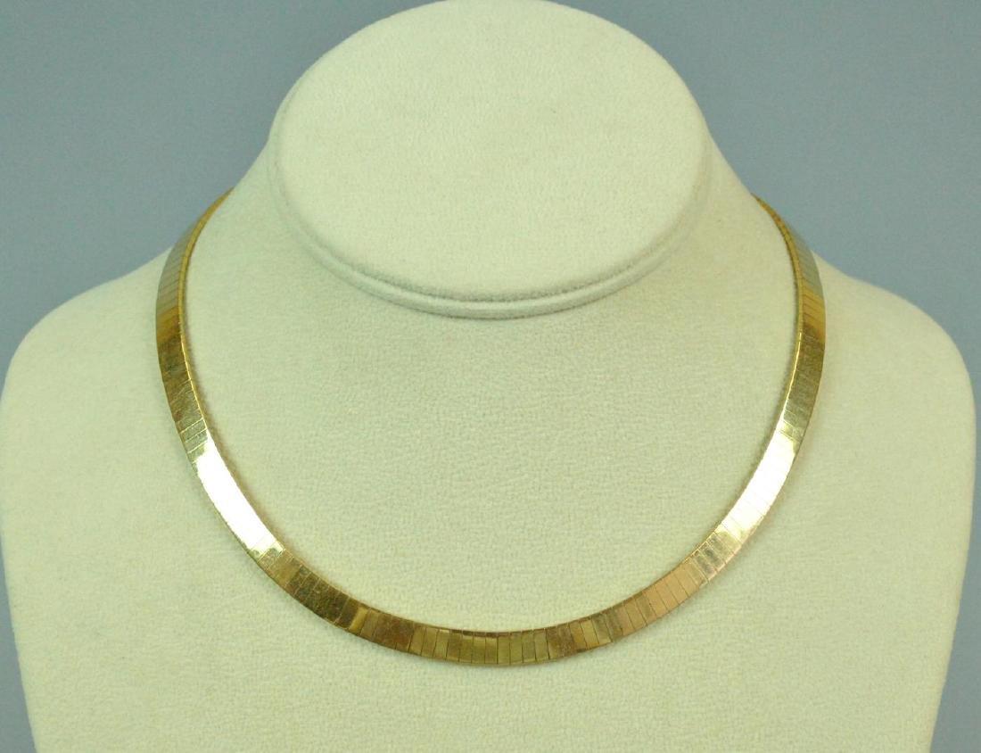 GOLD CHOKER WITH CLIP-ON LAPIS & DIAMOND PENDANT - 2