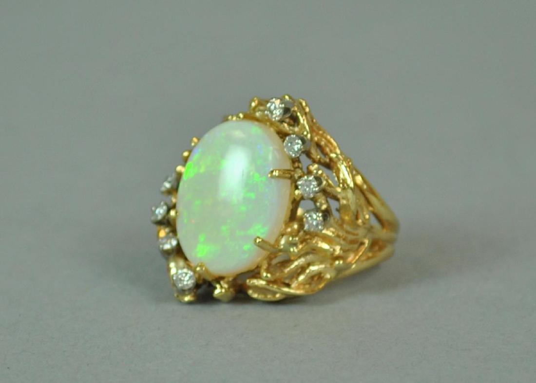 14K OPAL & DIAMOND COCKTAIL RING