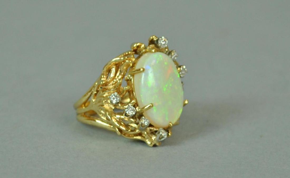 14K OPAL & DIAMOND COCKTAIL RING - 2