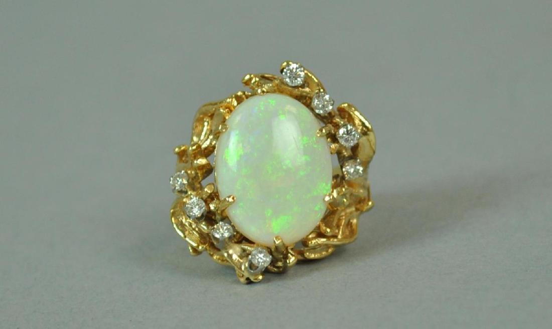 14K OPAL & DIAMOND COCKTAIL RING - 3