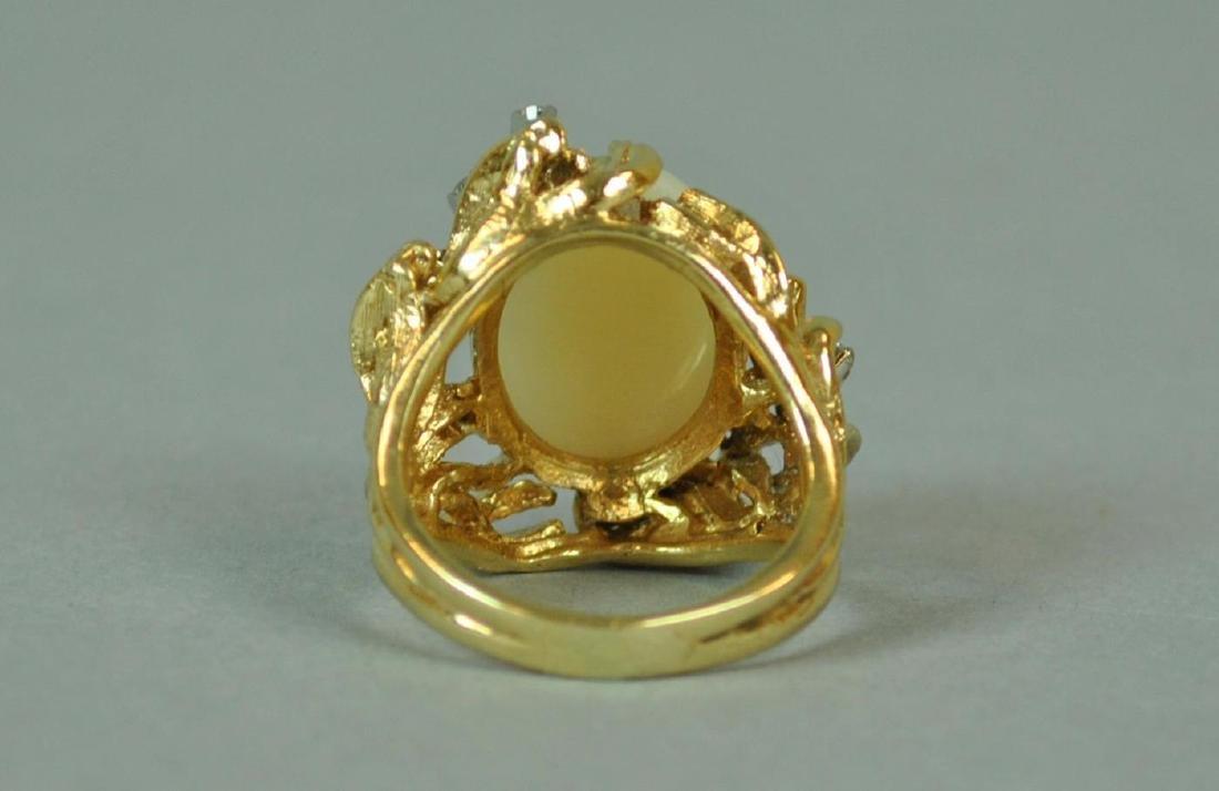 14K OPAL & DIAMOND COCKTAIL RING - 4
