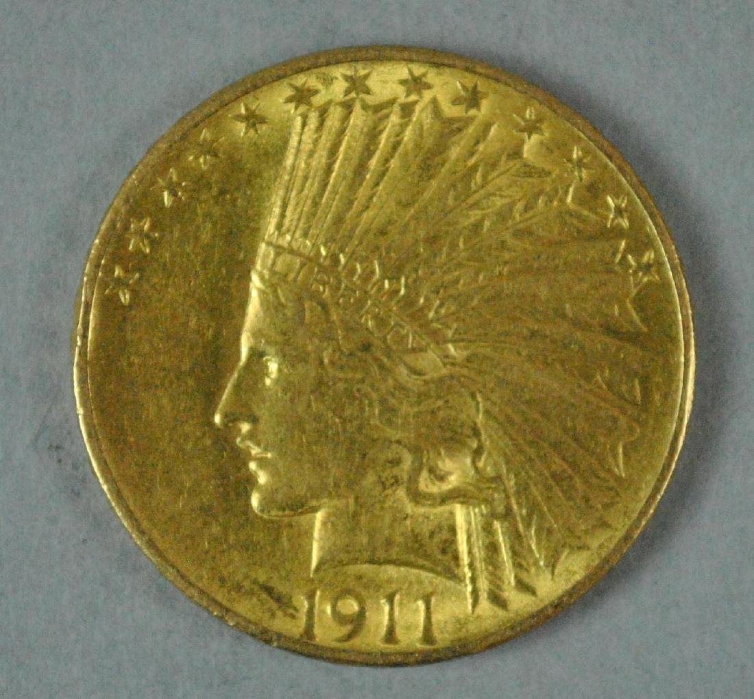 1911 US GOLD INDIAN HEAD EAGLE $10 COIN