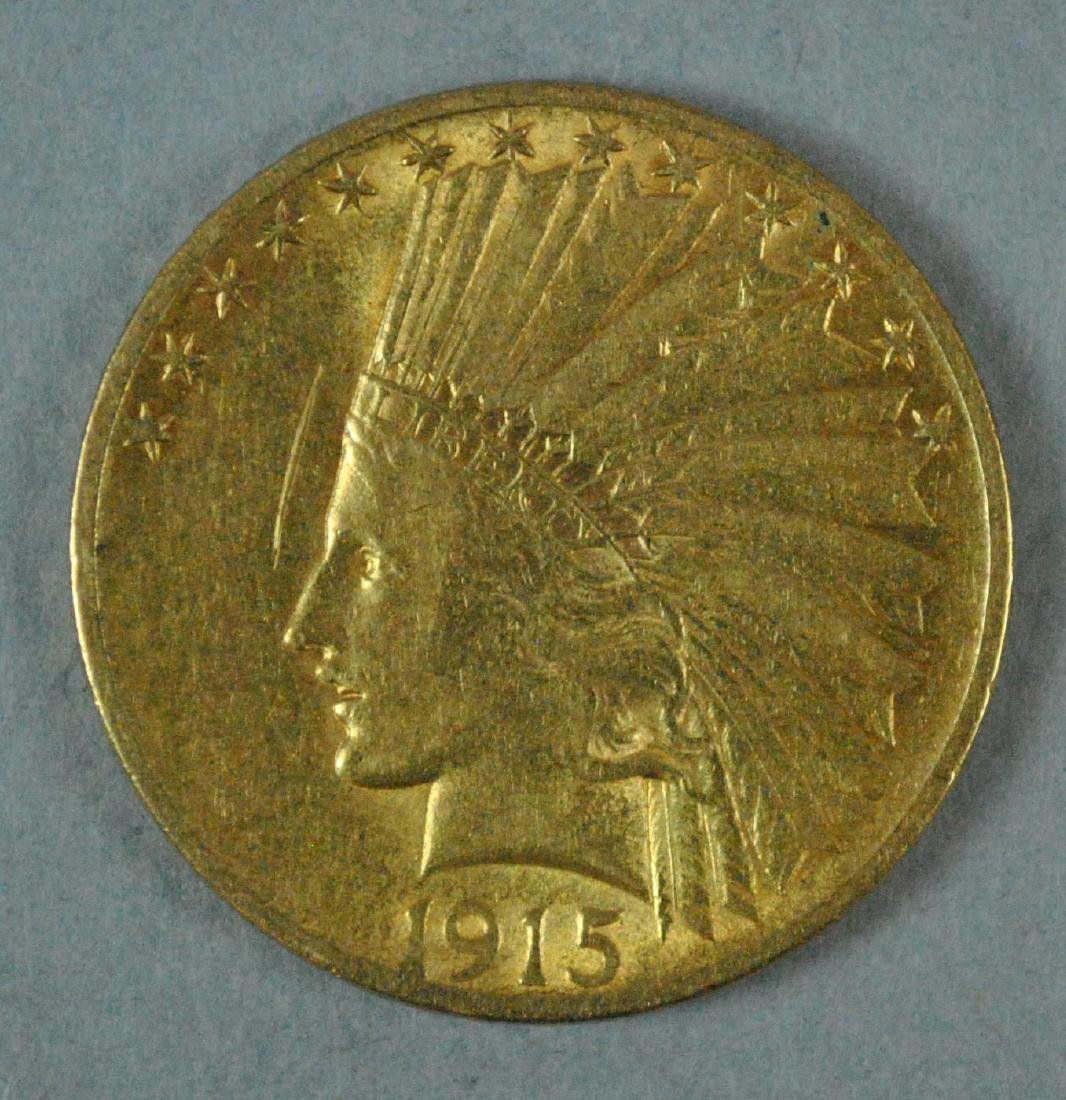 1915 US GOLD INDIAN HEAD EAGLE $10 COIN