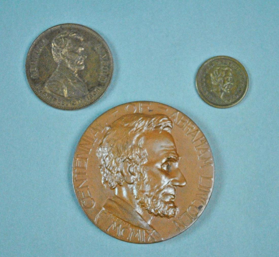 (3) ABRAHAM LINCOLN TOKENS / MEDALS