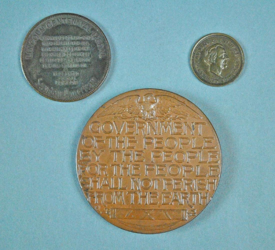 (3) ABRAHAM LINCOLN TOKENS / MEDALS - 2