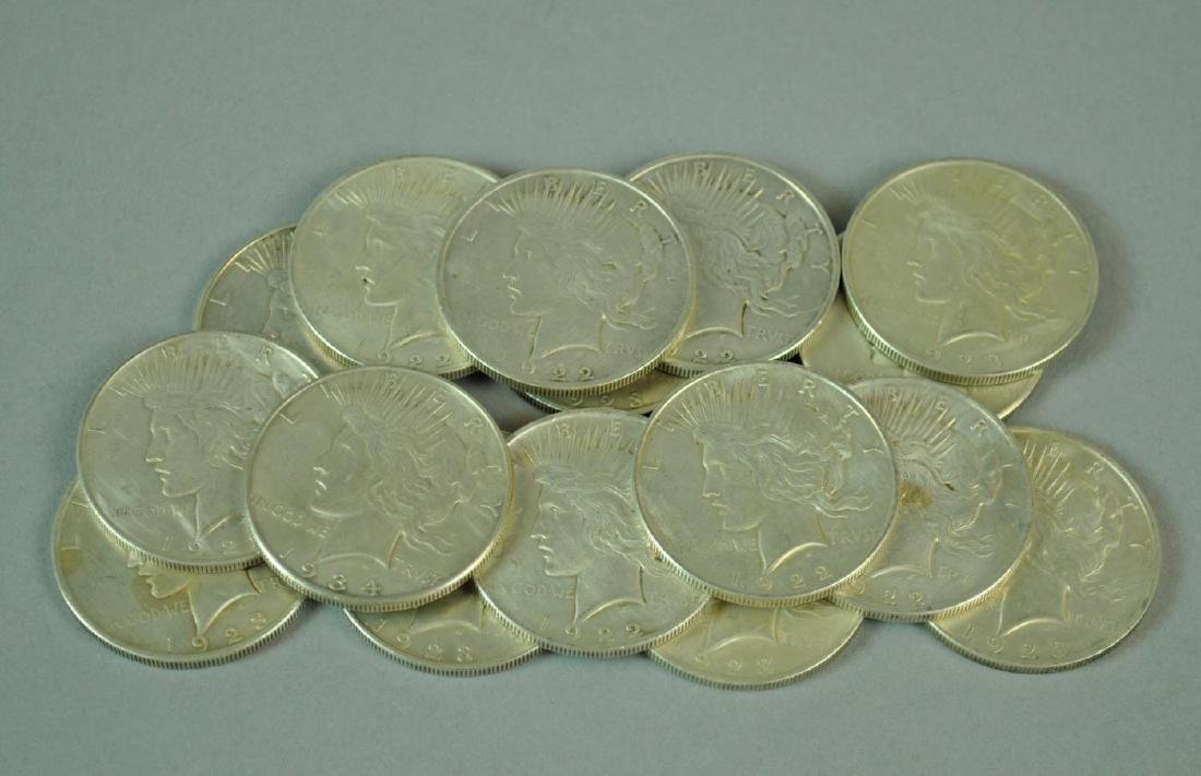 (16) US SILVER PEACE DOLLARS