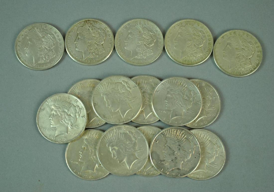 (16) US SILVER PEACE & MORGAN DOLLARS