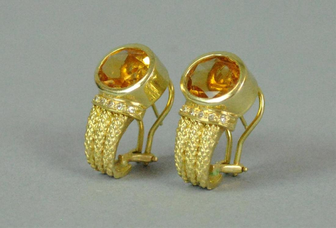 PAIR 14K GOLDEN BERYL & DIAMOND EARRINGS