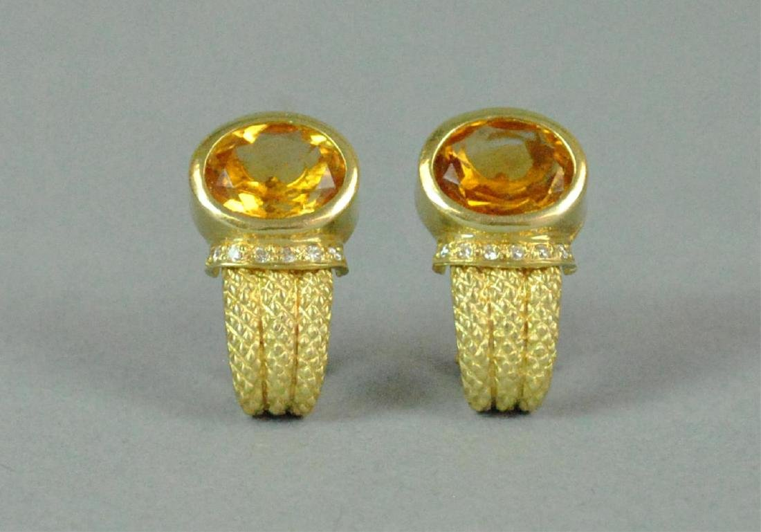 PAIR 14K GOLDEN BERYL & DIAMOND EARRINGS - 2