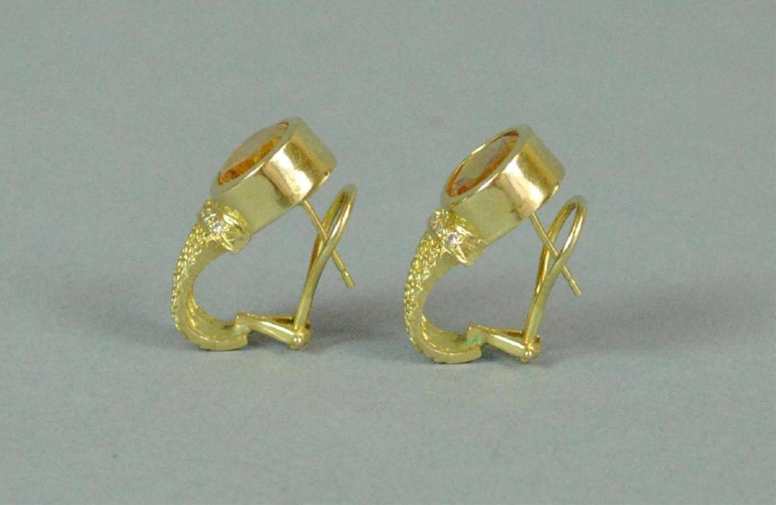PAIR 14K GOLDEN BERYL & DIAMOND EARRINGS - 3