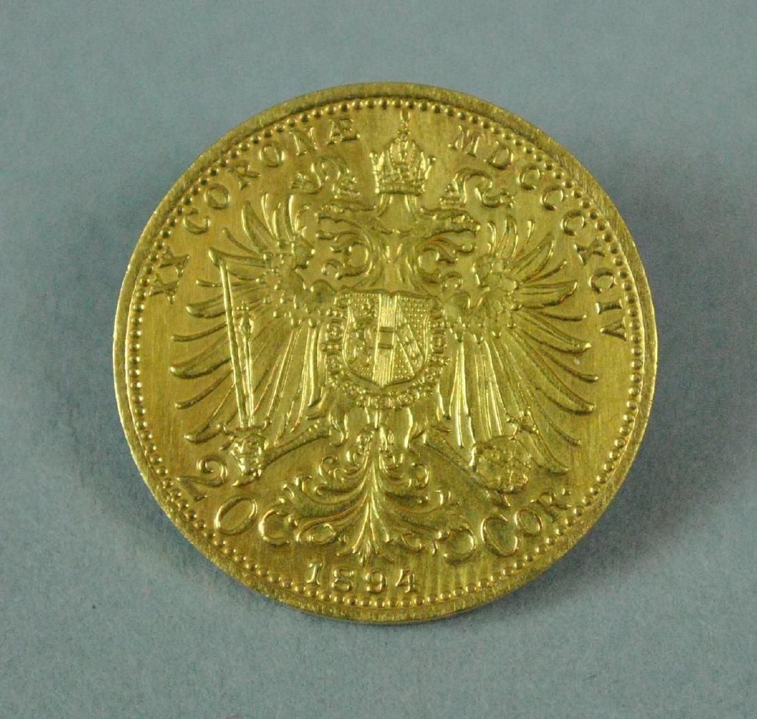 1894 (AS-IS) AUSTRIAN 20 CORONA GOLD COIN PIN