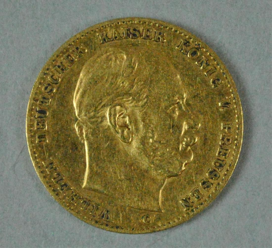 1874-C GERMAN STATES PRUSSIA 10 MARK GOLD COIN