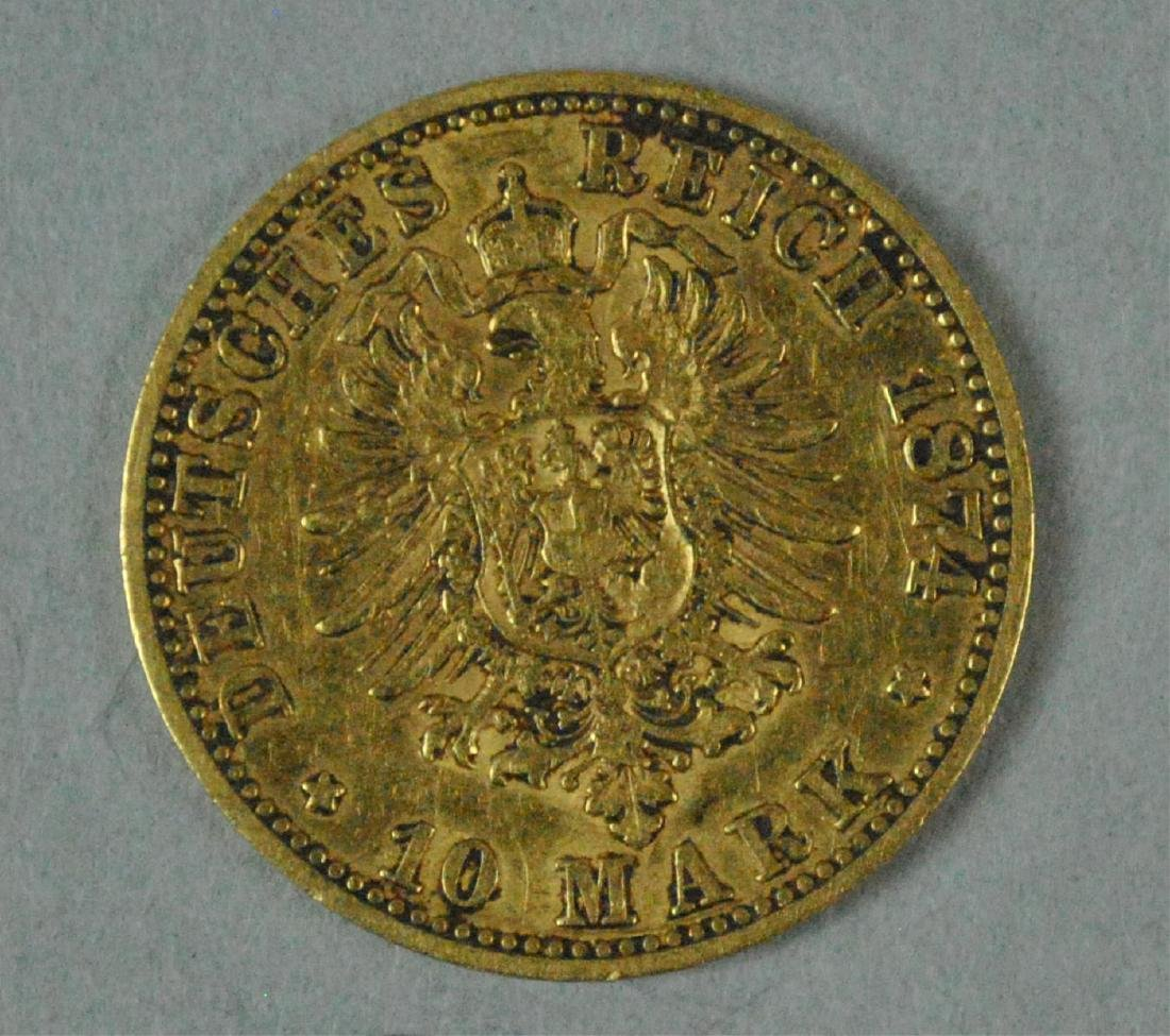 1874-C GERMAN STATES PRUSSIA 10 MARK GOLD COIN - 2