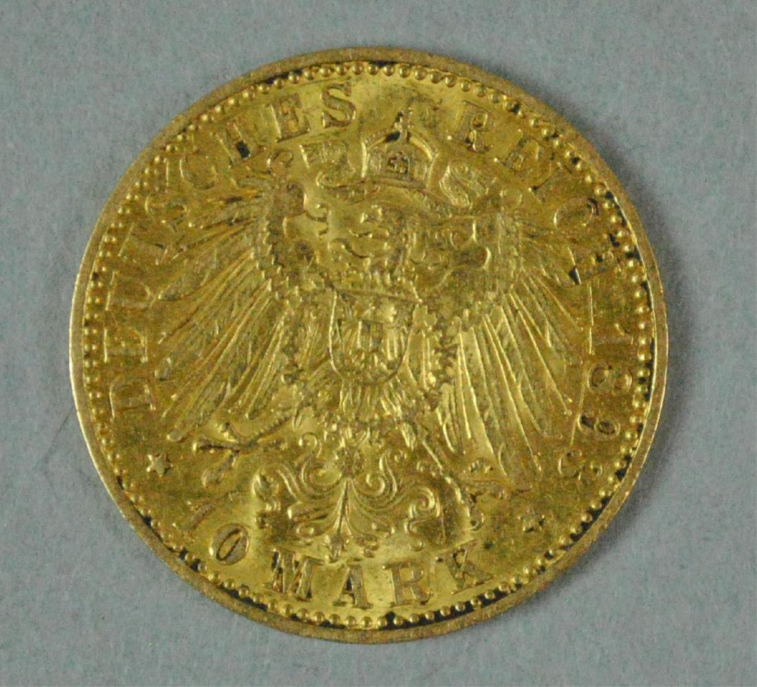 1893 GERMAN STATES PRUSSIA 10 MARK GOLD COIN - 2