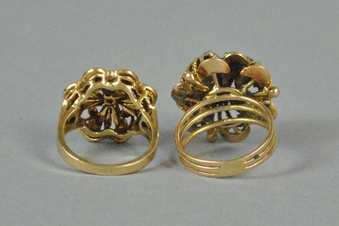 (2) 14K GOLD RINGS, JADE & OPAL - 4