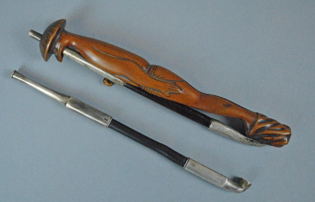 (2)  SILVER & WOOD OPIUM PIPES
