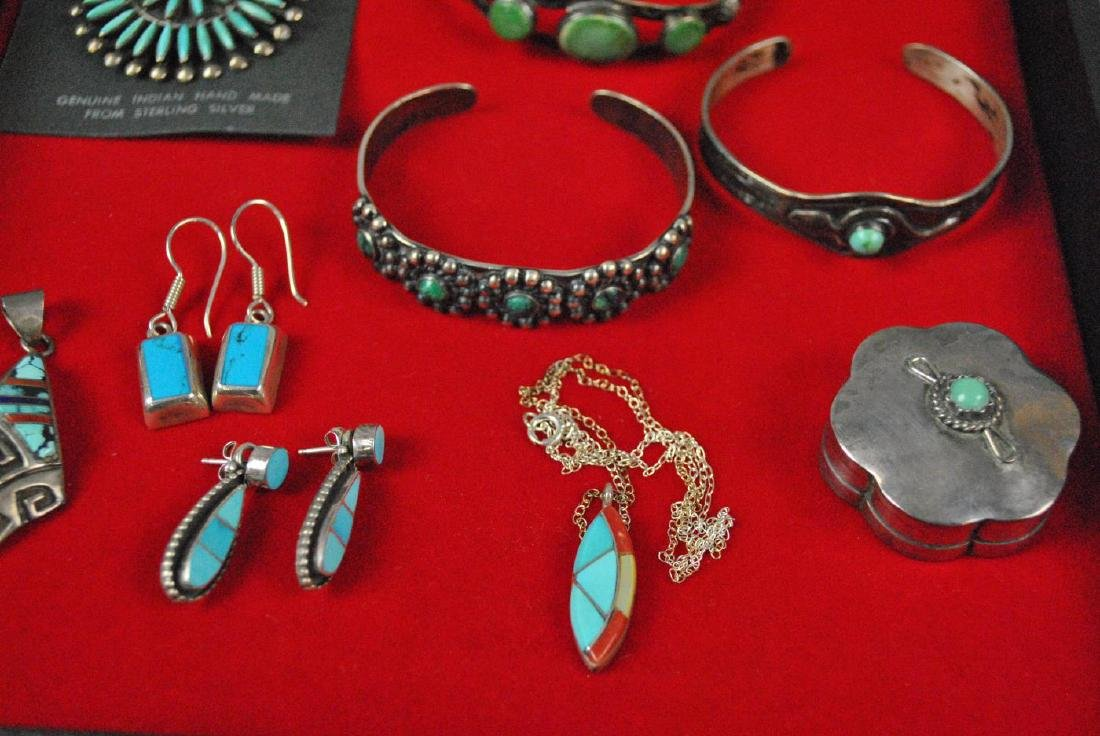 (8) PIECE SOUTHWESTERN TURQUOISE JEWELRY GROUP - 3