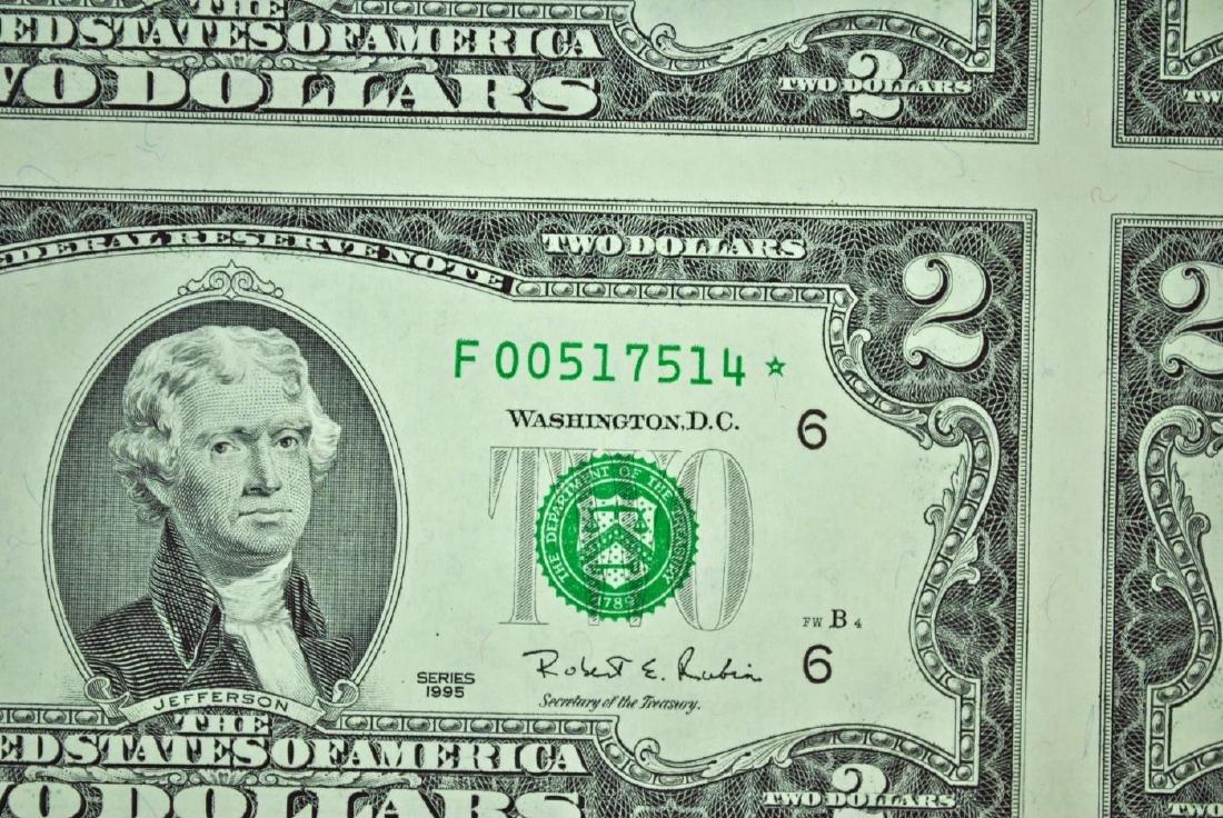 UNCUT SHEET OF BICENTENNIAL $2 STAR NOTES