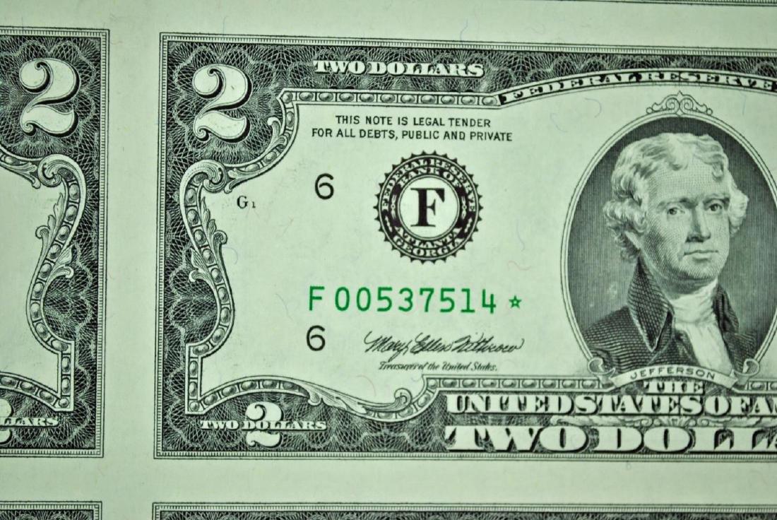 UNCUT SHEET OF BICENTENNIAL $2 STAR NOTES - 2