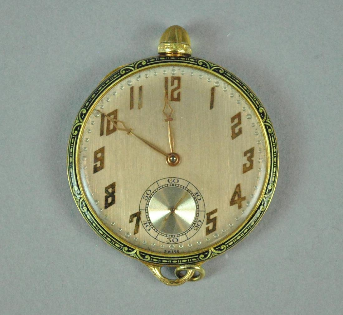 CH MEYLAN 18K & ENAMEL OPEN FACE WATCH - 2