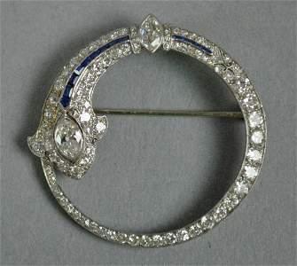 ART DECO PLATINUM, DIAMOND & SAPPHIRE CIRCLE PIN