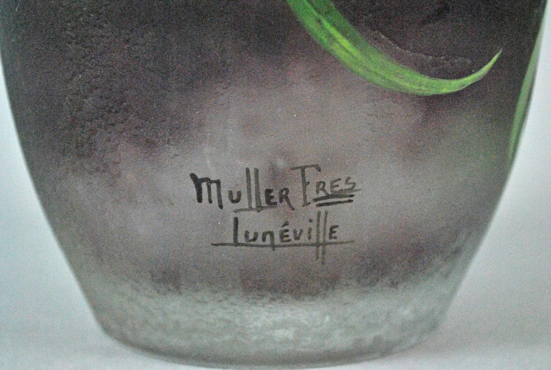 MULLER FRES LUNEVILLE ART GLASS VASE - 3