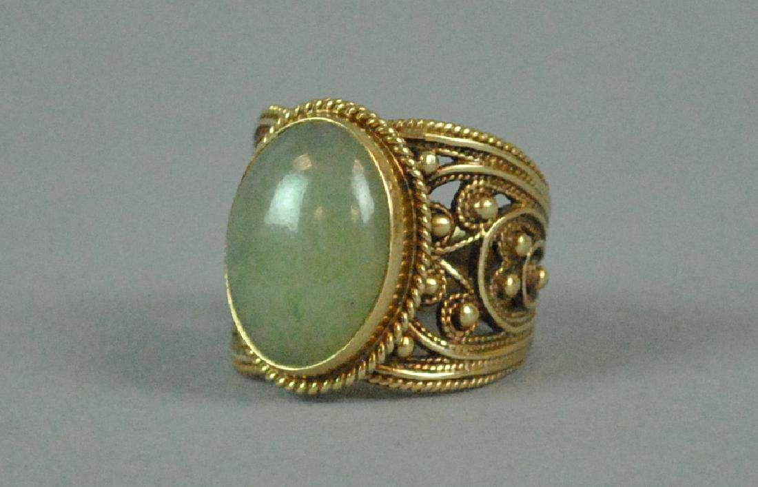ETRUSCAN STYLE GOLD JADE WIDE BAND RING