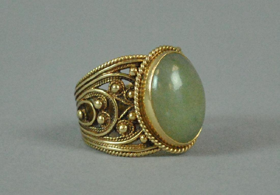 ETRUSCAN STYLE GOLD JADE WIDE BAND RING - 2