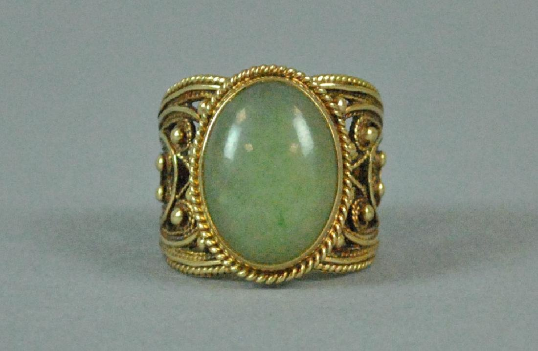 ETRUSCAN STYLE GOLD JADE WIDE BAND RING - 3