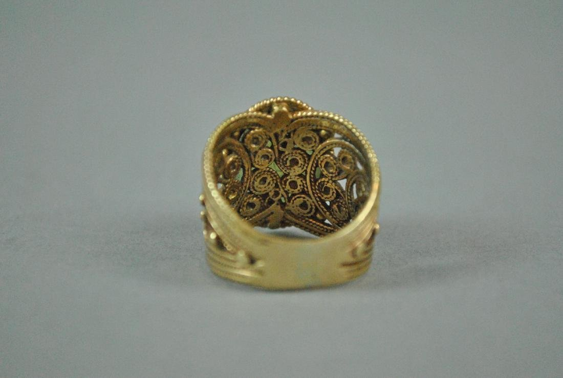 ETRUSCAN STYLE GOLD JADE WIDE BAND RING - 4