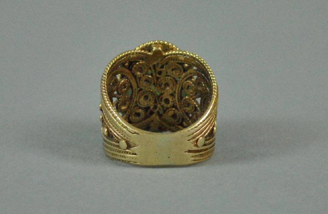 ETRUSCAN STYLE GOLD JADE WIDE BAND RING - 5