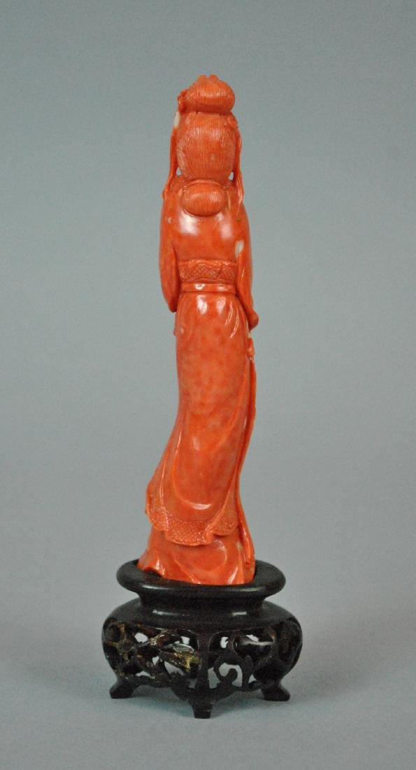 CHINESE CARVED CORAL GUANYIN - 2