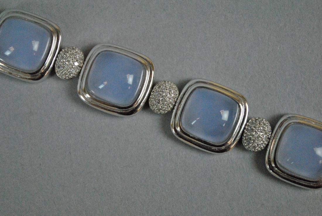 14K LAVENDER JADE & DIAMOND BRACELET