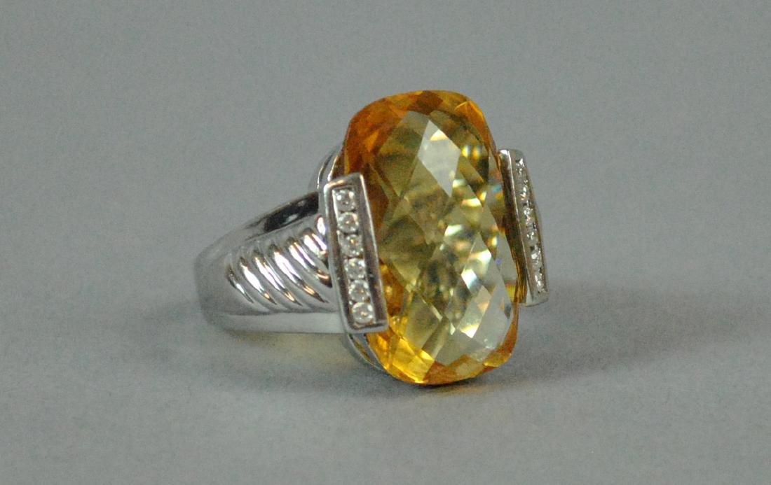 14K GOLDEN BERYL & DIAMOND RING - 2