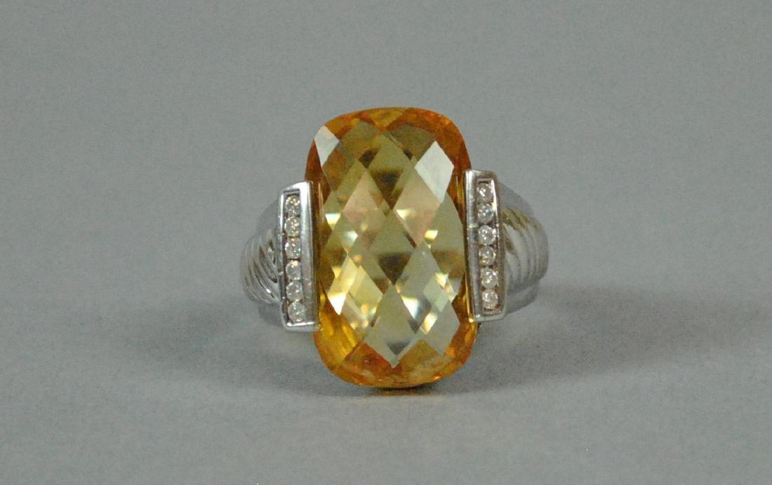 14K GOLDEN BERYL & DIAMOND RING - 3