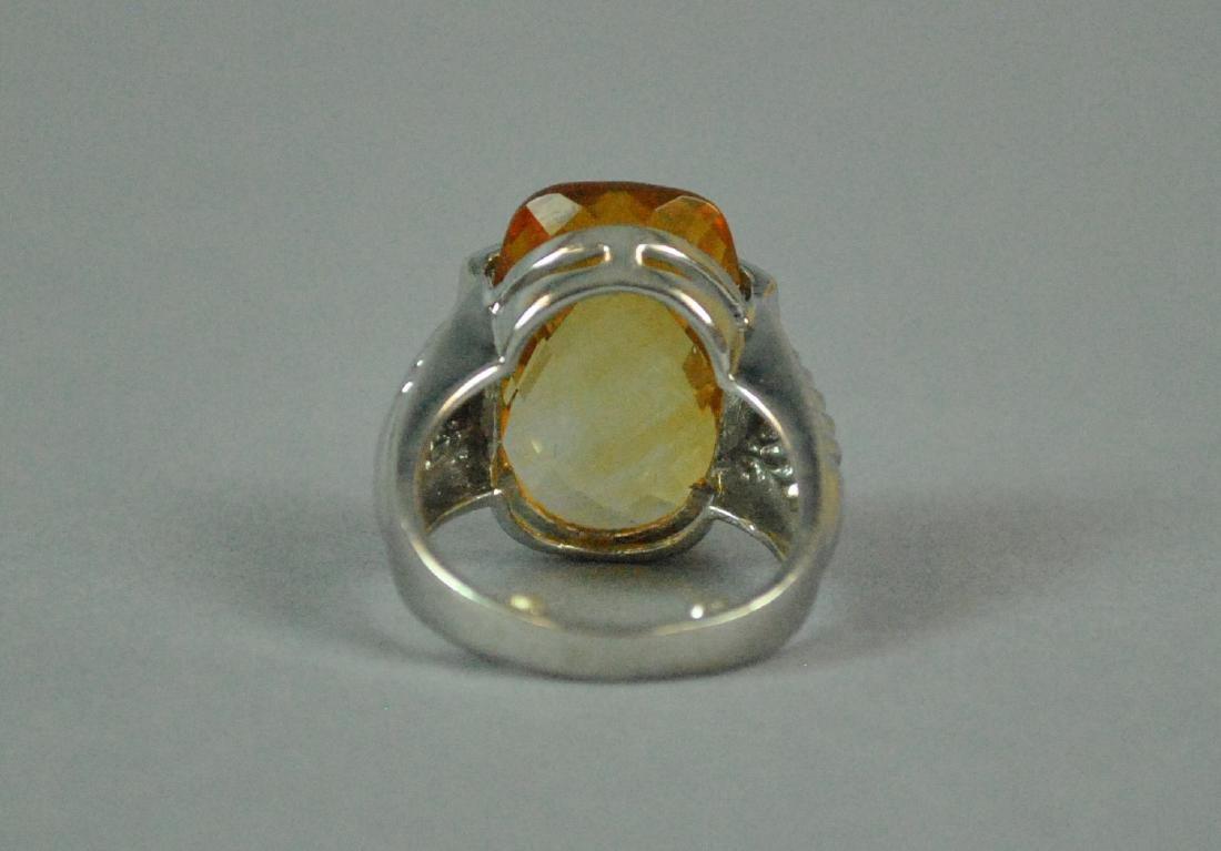 14K GOLDEN BERYL & DIAMOND RING - 4