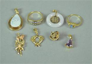 8 PIECE GOLD JEWELRY GROUP