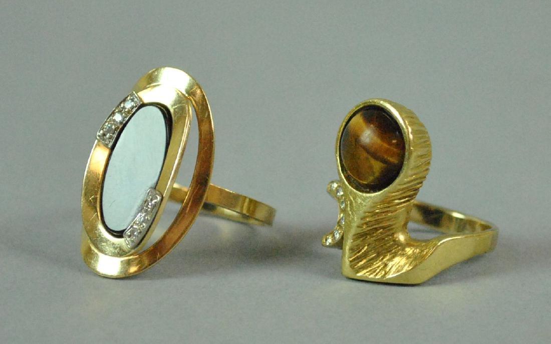 (2) 14K GOLD & GEMSTONE MODERN STYLE RINGS
