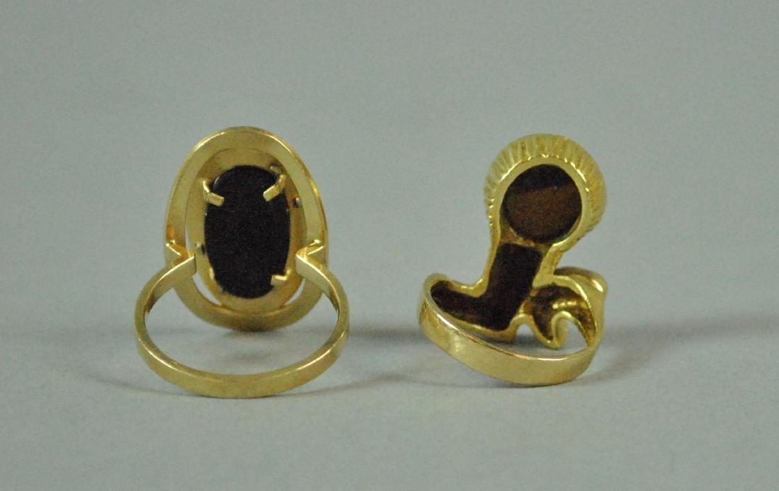 (2) 14K GOLD & GEMSTONE MODERN STYLE RINGS - 4