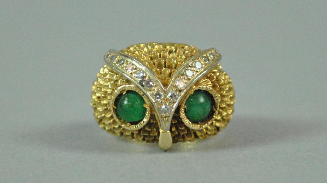 14K OWL RING - 3