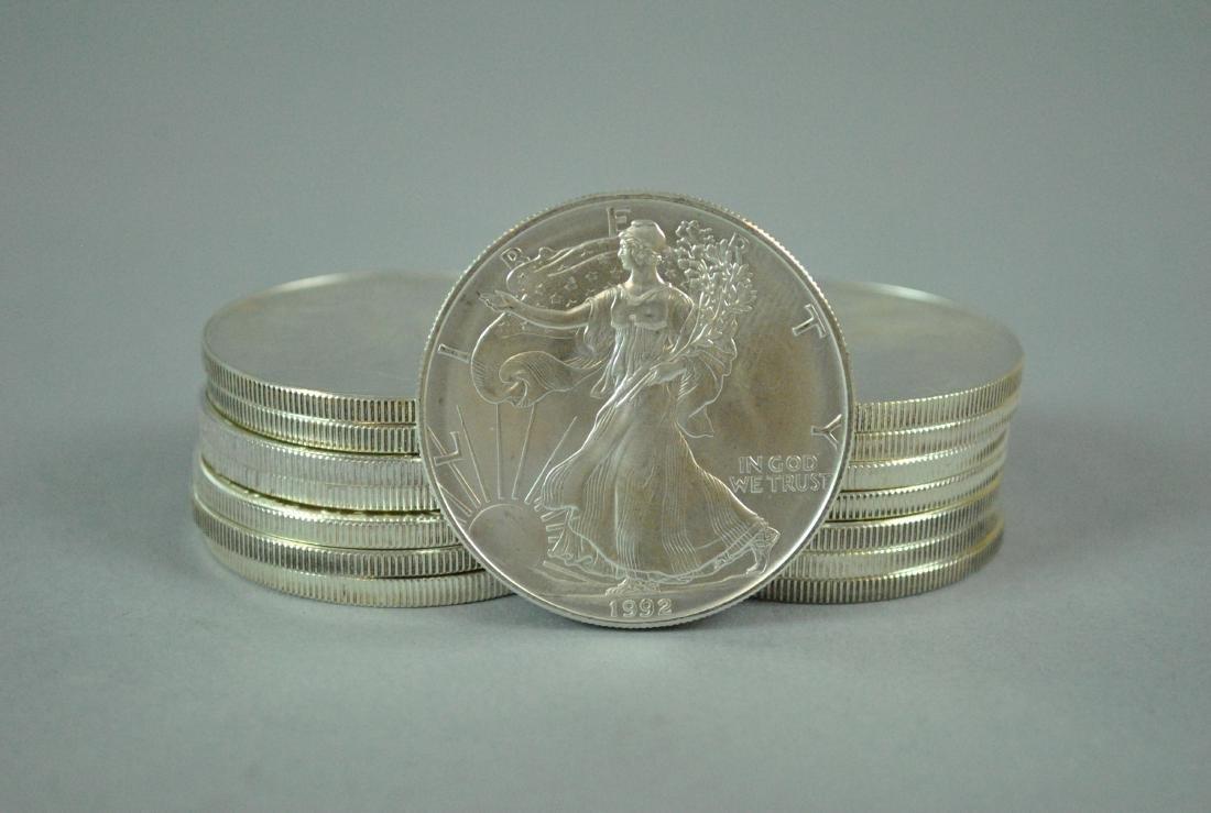 (15) US AMERICAN EAGLE SILVER DOLLAR COINS