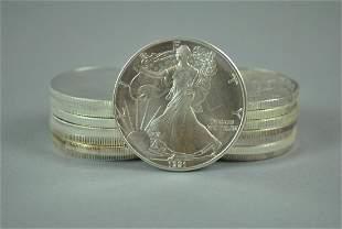 15 US AMERICAN EAGLE SILVER DOLLAR COINS