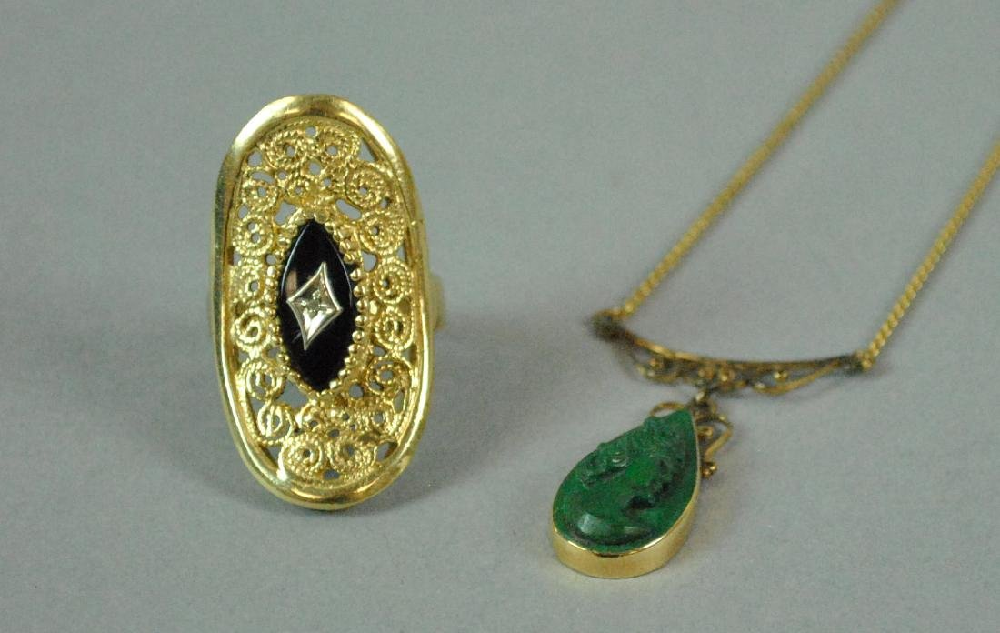 (2) PIECE GOLD JEWELRY GROUP