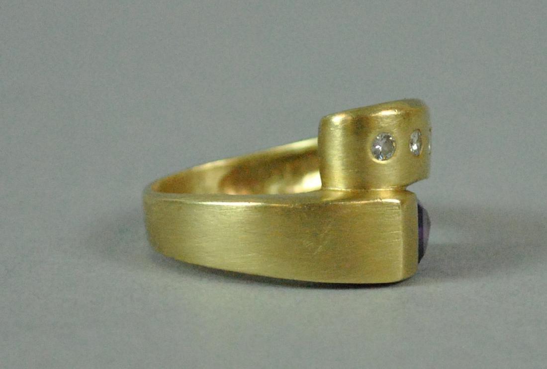 14K AMETHYST & DIAMOND BYPASS RING - 2