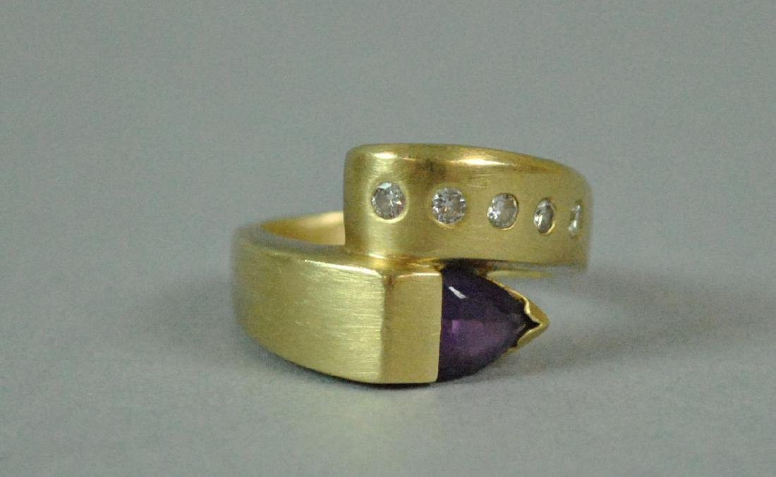 14K AMETHYST & DIAMOND BYPASS RING - 3