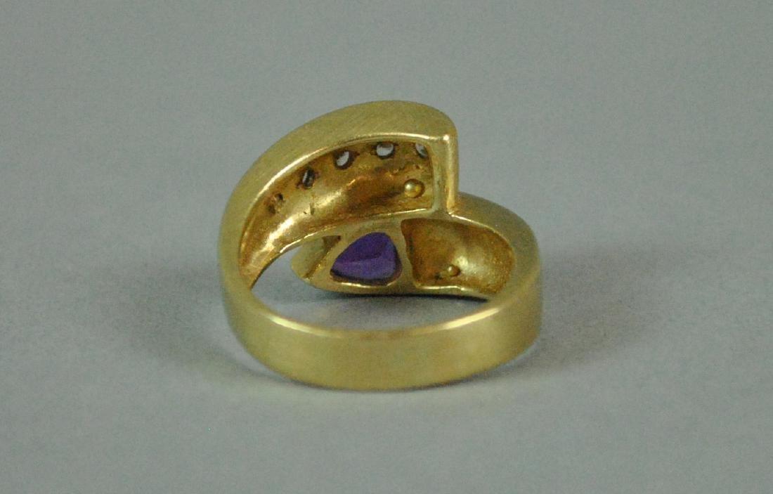 14K AMETHYST & DIAMOND BYPASS RING - 4