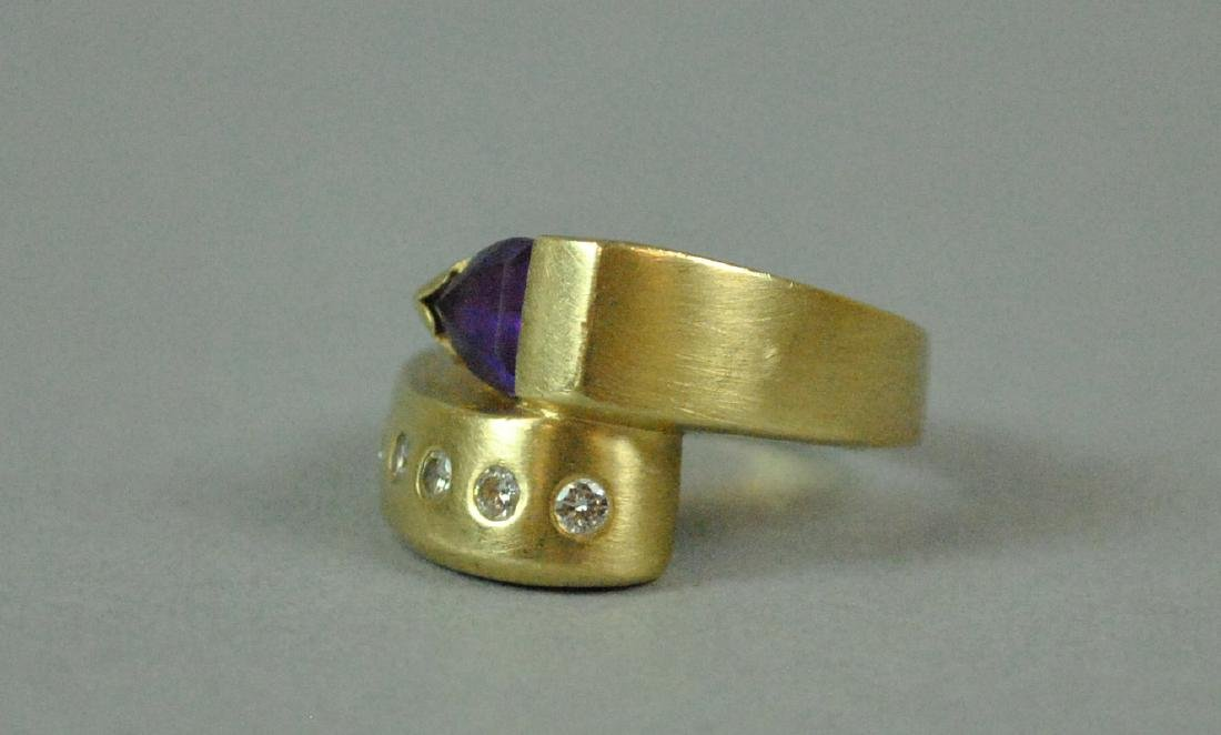 14K AMETHYST & DIAMOND BYPASS RING - 5