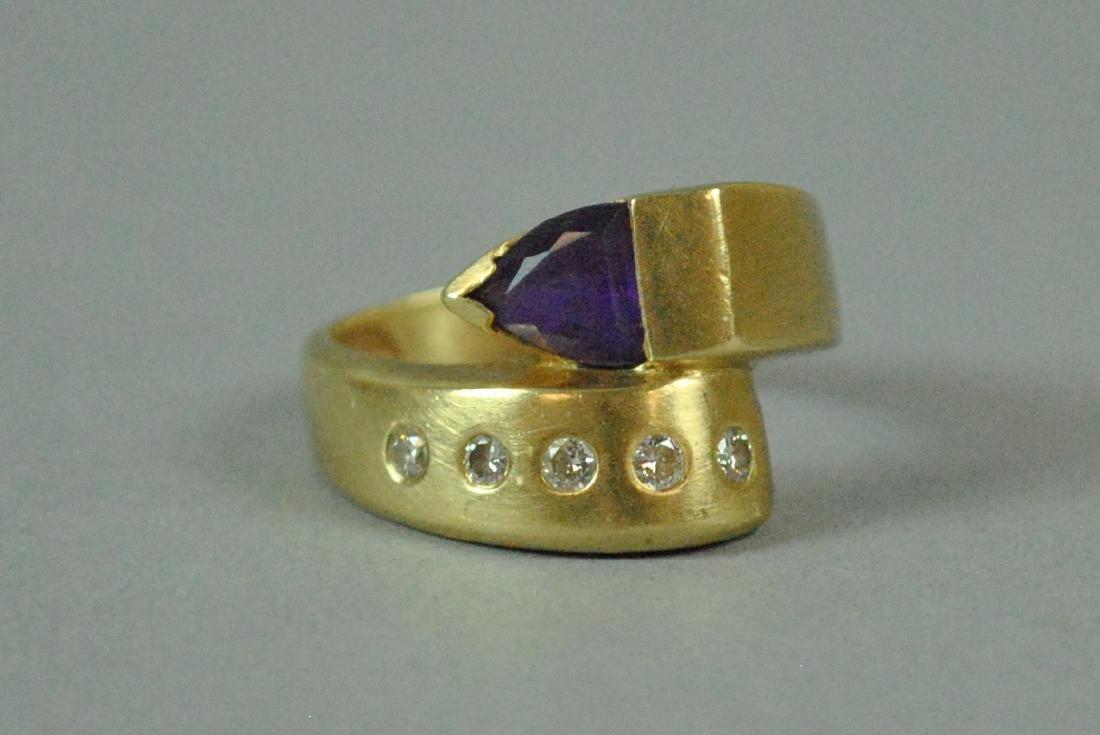 14K AMETHYST & DIAMOND BYPASS RING - 7