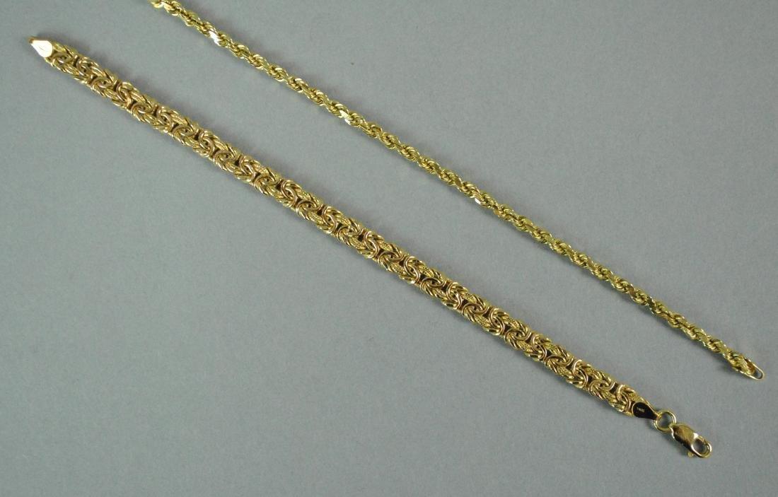 (2) 14K GOLD LINK BRACELETS - 3