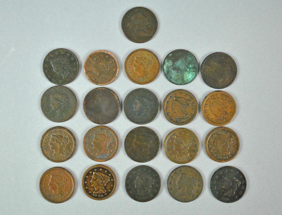 (21) US LARGE CENT COPPER COINS - 2
